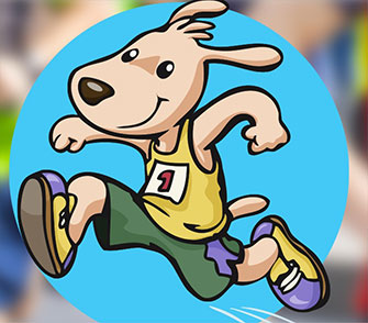 Illustration of dog running a marathon